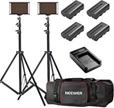 Neewer 2-Pack Bi-color Dimmable 280 LED Video Light and Stand Lighting Kit with Battery, USB Charger and Carrying Bag - 3200-5600K,CRI 95+ LED Panel for Camera Photo Studio, YouTube Video Shooting
