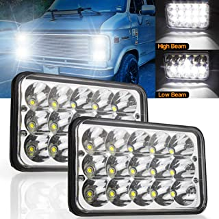 LED Headlights 4x6 Rectangle 45W Hi/Lo Sealed Beam H4 Plug For H4651 H4652 H4656 H4666 H6545 Kenworth Peterbilt Truck Freightliner Jeep Wrangler Oldsmobile Cutlass Ford Probe Chevrolet.