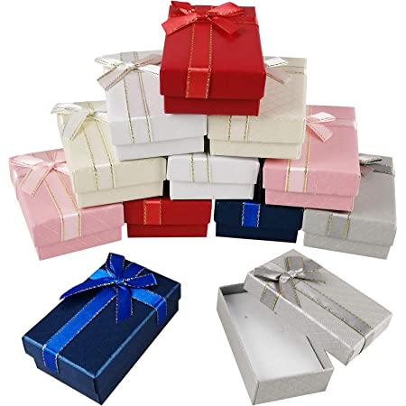 AUGOOG ギフトボックス 箱 ラッピング ラッピングボックス 長方形 蝶結び リボン付き パッケージ アクセサリー プレゼント 小物入れ 包装 贈り物 12個セット