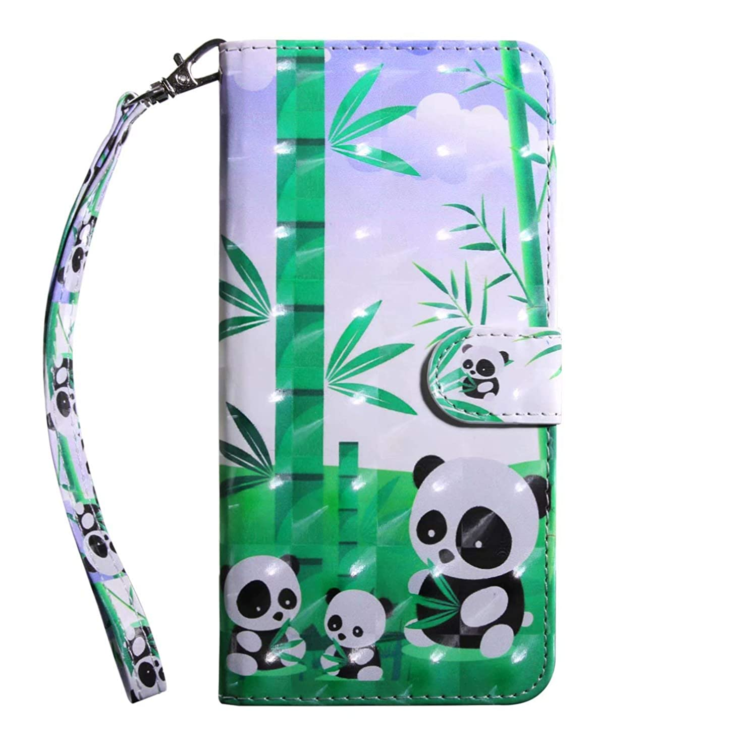 Galaxy S9 Case, AIIYG DS 3D Pattern [Kickstand Feature] Flip Folio Leather Wallet Case with Lanyard ID and Credit Card Pockets for Samsung Galaxy S9,Panda