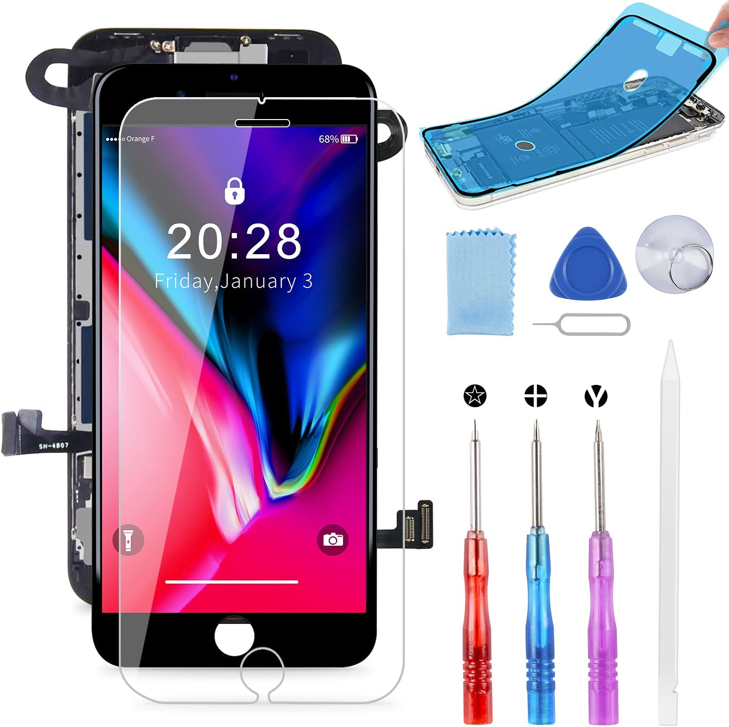 BeeFix ! Super beauty product restock quality top! for iPhone 8 Screen Cheap bargain Replacement Touch 4.7 3D Black L Inch