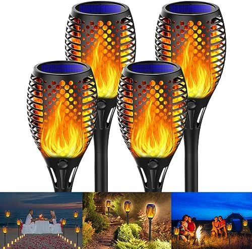 Fortand Lumières Flamme Solaire, 4 Pack Lampe Torche de Jardin LED Solaire Lumière Lampe Etanche IP65 Éclairage Torch...