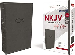 NKJV, Thinline Bible Youth Edition, Leathersoft, Gray, Red Letter Edition, Comfort Print: Holy Bible, New King James Version