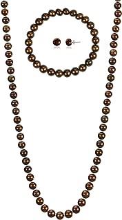 7-7.5mm Cultured Freshwatrer Pearl Necklace + Bracelet + Earrings .925 Sterling Silver