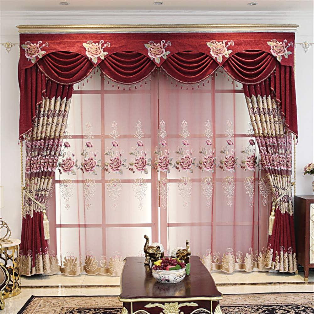 オリジナル NewWPKIRA European Style Floral Embroidered Peony Curtain 評判 Luxury