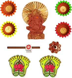 storeindya Diya Diwali Decorations Gifts Ideas Set of 4 Hand Painted Earthen Diyas Lord Ganesha Idol Dhoop Stick + Holder Charan Paduka/Lakshmi Feet Combo Festive Celebration Home Décor