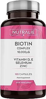 Biotina 10.000 mcg | Vitaminas D y E. Zinc. Selenio | Contribuye al Crecimiento