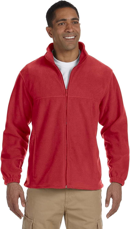 Harriton Men's Full Zip Midweight Fleece Pullover, RED, XXXX-Large