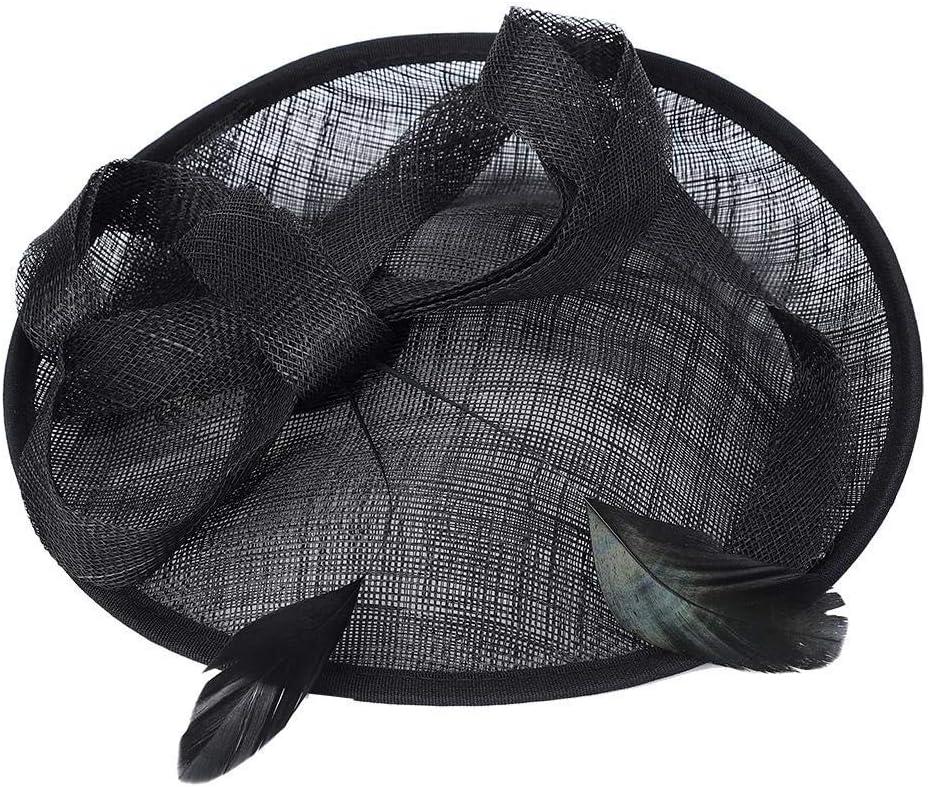 Elegant Bridal Wedding Hat Church Cap Women Tea Party Bridal Feather Hair Clip Ladies Day Hat Accessories Decor(Milk)