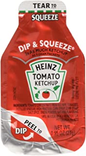 Heinz Tomato Ketchup, 0.95-Ounce Single Serve Packages (Pack of 100) --- 3x More Ketchup Than The Standard .32oz Packets