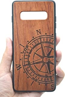 VolksRose Samsung Galaxy S10 Plus Wooden Case - Premium Quality Natural Wood Hard Case Shock Absorbing Protective Phone Cover - Rosewood Compass and TPU