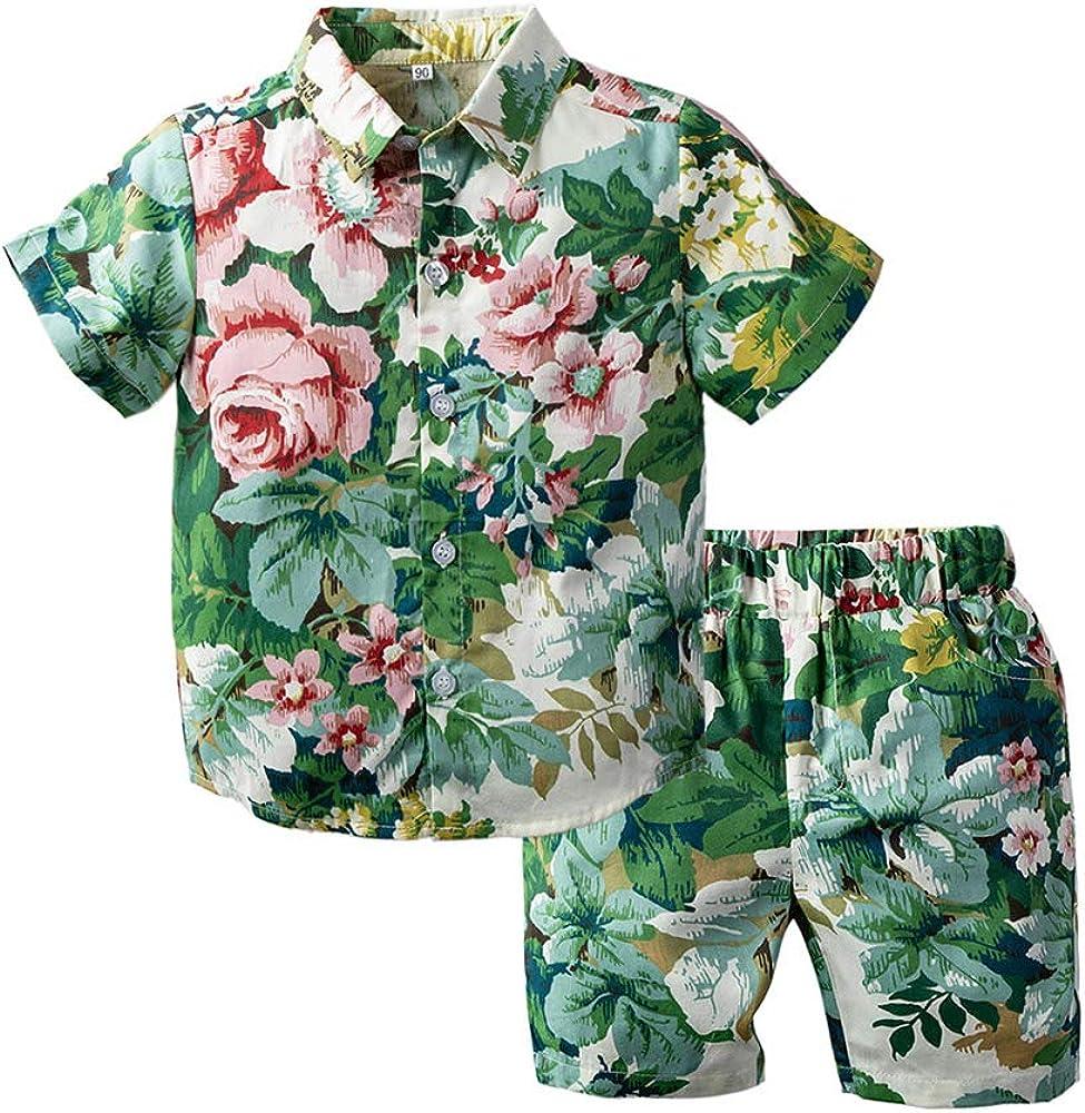 Toddler Baby Boy Shorts Sets Hawaiian Outfit,Infant Kid Floral Short Sleeve Shirt Top+Shorts Suits Set