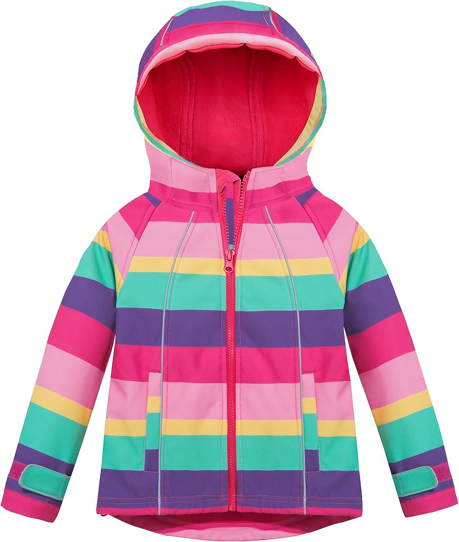 Hiheart Girls Fleece Jackets Striped Outwear Hooded Windproof Jacket