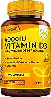 Vitamin D 4000 IU – Över 365 dagar med lättsvalda mjuka gelkapslar – Vitamin D3 kolekalciferol – Tillverkade i...