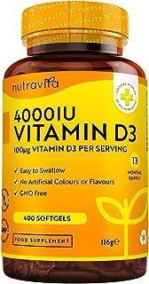 Vitamin D 4000 IU – Över 365 dagar med lättsvalda mjuka gelkapslar – Vitamin D3 kolekalciferol – Tillverkade i Storbritann...
