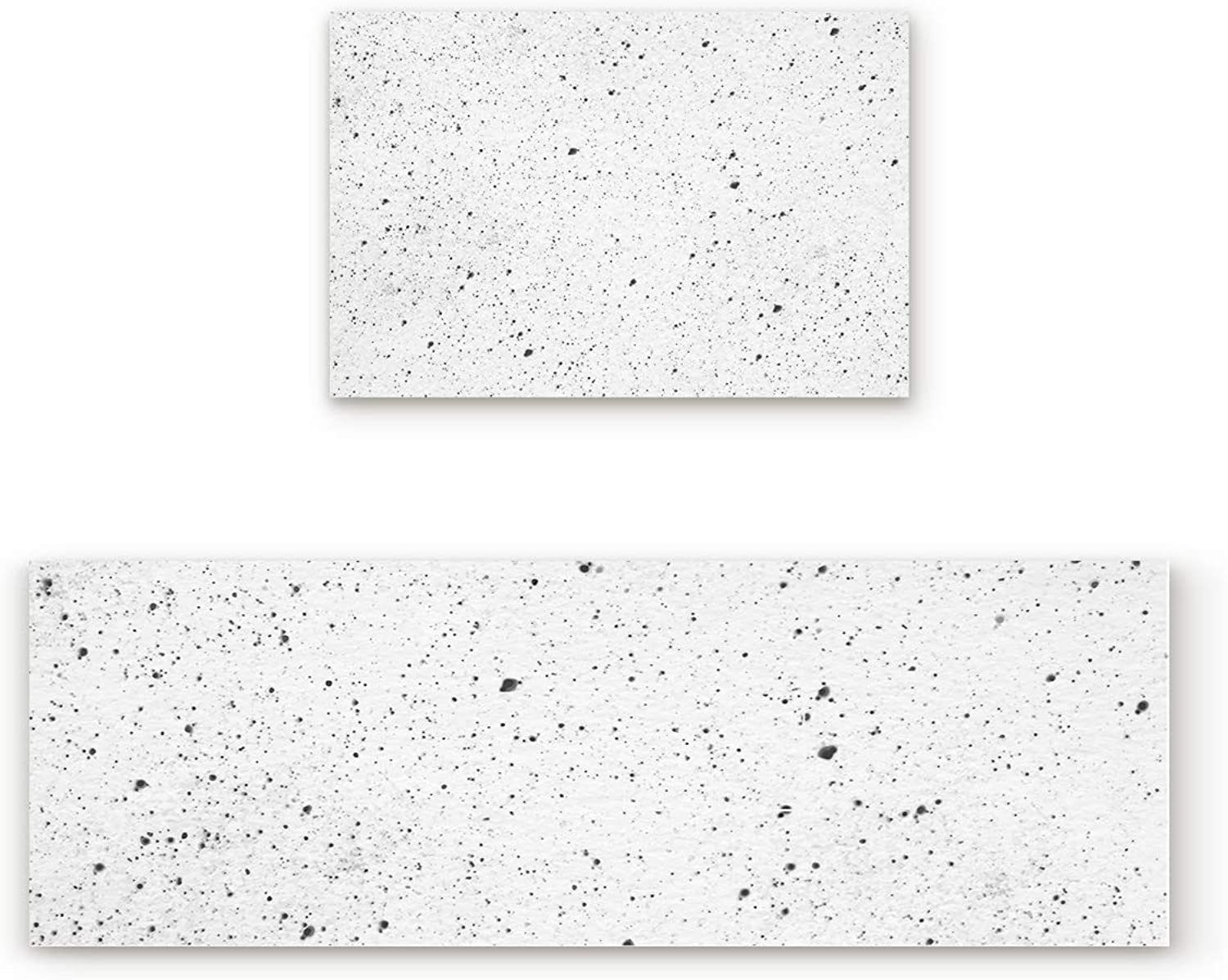 Aomike 2 Piece Non-Slip Kitchen Mat Rubber Backing Doormat Black and White Marbling Runner Rug Set, Hallway Living Room Balcony Bathroom Carpet Sets (19.7  x 31.5 +19.7  x 47.2 )