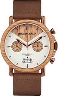 Original Grain Wood Wrist Watch | Alterra Collection 44MM Chronograph Watch | Brown Leather Watch Band | Japanese Quartz Movement | Whiskey Barrel Wood Bezel | Espresso Stainless Steel Case