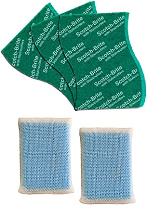 Scotch-Brite Scrub Net Sponge (Pack of 2) and Scrub Pad Large (Pack of 3) (H18-4879)