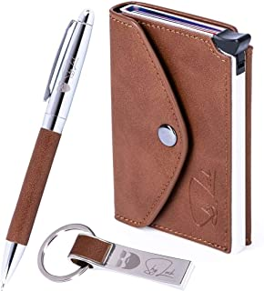 Slim Wallet Gift Box Set RFID Credit Card Holder Real Genuine Leather by ShyLock Wallet + Key Fob Chain + Pen. Gifts for M...