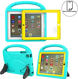 TIRIN Kids Case Built-in Screen Protector for iPad 2 3 4 - Light Weight Convertible Shockproof Handle Stand Kids Friendly for iPad 2nd 3rd 4th Generation Old Model (Turquoise Yellow)