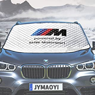 JYMAOYI BMW Windshield Snow Cover Car Sunshade M Logo Windshield Visor Cover Front Window Protector Visor Ice Frost Defense Snow for 1 2 3 5 6 7 X M Series E81-93 E21-24 F01-04 F10-13 X1-7 etc