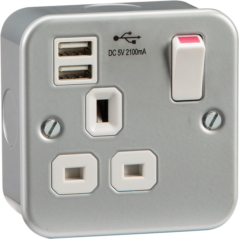 Knightsbridge mc7000usb mc7000usb mc7000usb Metall Clad 13 A 1 G Sockel mit Dual USB Ladegerät Ports 5 V DC 2.1 A B00SMK0IKC | Hochwertige Materialien  66f760