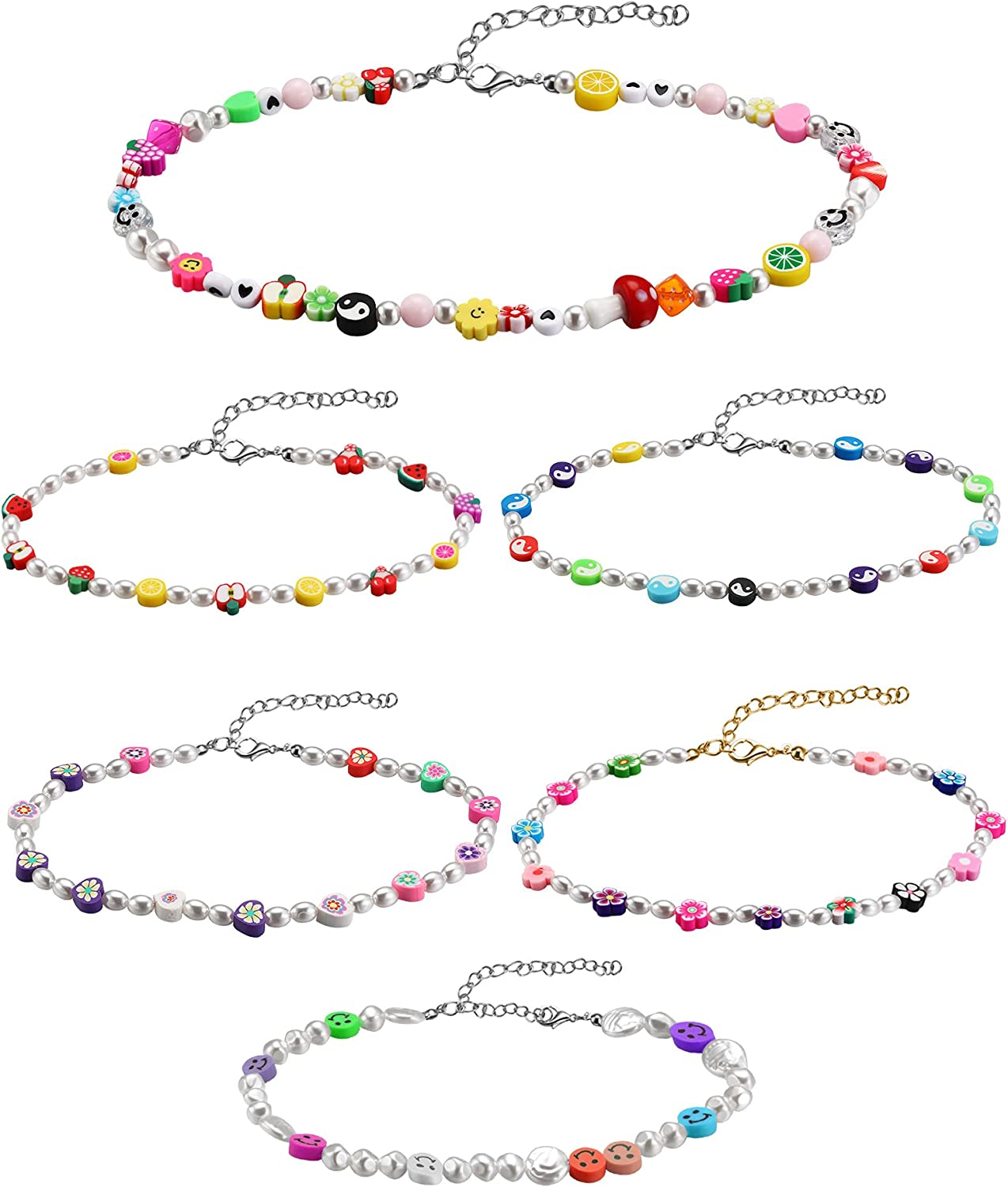 6 Pieces Beaded Choker Necklaces Y2k Seed Bead Necklace Flower Fruit Tai Chi Pearl Boho Necklace Handmade Colorful Summer Beach Chain Jewelry Set for Women Girls