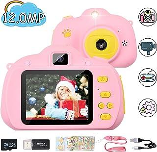 Chuanghongyuan Cámara de Fotos para Niños con Juegos32GB Tarjeta SD y AcolladorCámaras Fotos Infantil Digitales Selfie1080P HD Video con Pantalla de 2.4 Pulgadasa Prueba de GolpesCarcasa Silicona