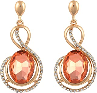 Crunchy Fashion Bollywood Style Party Wear Peach Crystal Dangle Earrings for Women & Girls