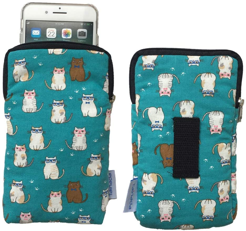 Tainada Phone Sleeve Pouch Carrying Zipper Case with Belt Loop Holster for iPhone 11/12, 11/12 Pro Max, Xs Max, XR, Samsung S21 Ultra, S21+, S20 FE, S21, S20, S20+ & More! (Cats Pattern Turquoise)