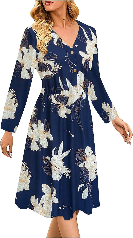 Womens Midi Dresses V Neck Fall Dresses Long Sleeve Sun Dresses Fashion Print Beach Dress Flowy Button Dress