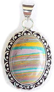 Rainbow Calsilica Pendant, Silver Plated Brass Pendant, Handmade Pendant, Gift Jewelry, Women Jewellry, Fashion Jewellry, ...