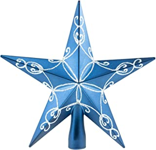 Clever Creations Blue Star Christmas Tree Topper - Festive Christmas Decor - Sparkling Shatter Resistant Plastic - 8 inch Tall - Perfect for Any Size Christmas Tree