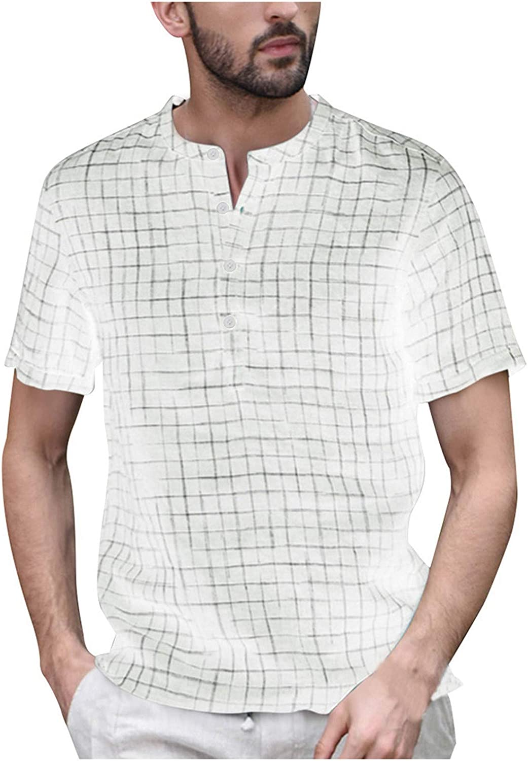 Men's NEW before selling Fashion Casual Blouse Men Button Linen Splicing Vintage Max 48% OFF So