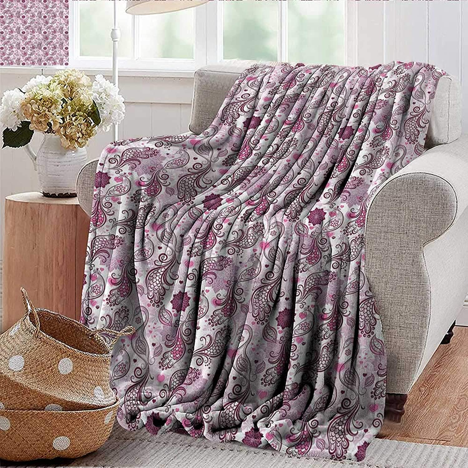 Xaviera Doherty Weighted Blanket for Kids Purple,Romantic Birds Flowers Soft Summer Cooling Lightweight Bed Blanket 50 x60