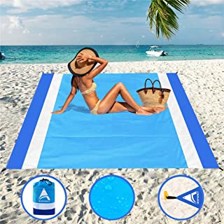 "AISPARKY Beach Blanket Sandproof Waterproof for 4-7 Persons Quick Drying Beach Mat Made by Premium Nylon with Corner Pockets Durable Portable Picnic Blankets for Outdoor Travel (78"" X 81"")"