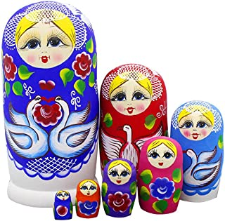 Set of 7 Cute Blonde Girl White Swan Wooden Red Flowers Russian Nesting Dolls Matryoshka Kids Gift Fun Toys Birthday Christmas New Year Gifts (Blue)
