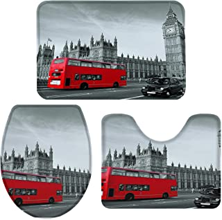 Libaoge Bathroom Mat Sets 3 Piece/Set Rugs Modern London Cityscape White Red UK Street Memory Foam Mat Set Matches Anti-Skid Absorbent Toilet Seat Cover Bath Mat Lid Cover 18
