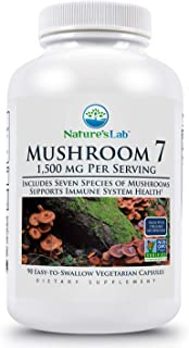 Nature's Lab Mushroom 7 Organic Blend - Benefits The Immune System, Cell Function and Endurance - 90 Capsules (45 Servings)