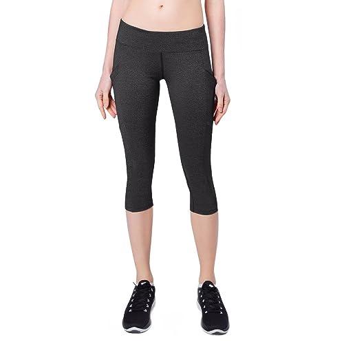 e7d26df0a9f2a Baleaf Women's Yoga Workout Capris Leggings Side Pocket for 5.5