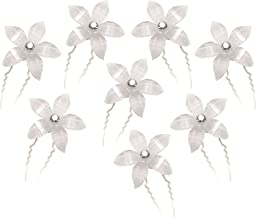 CB Accessories White Flower Hair Pins with Rhinestone Crystal for Wedding, Prom, Dance and Special Event (Set of 8)