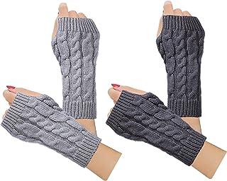 Best 2-4 Pairs Women Winter Warm Knit Fingerless Gloves Hand Crochet Thumbhole Arm Warmers Mittens Reviews