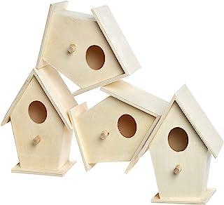 Baker Ross Casitas de madera para pájaros para pintar y decorar, Paquete de 4