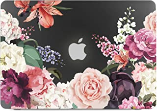 Lapac MacBook Pro 13 Case Flower, 2019 2018 2017 2016 Release A2159 A1989 A1706 A1708, Rose Flower Clear Case, Black Hard Shell Case, Keyboard Cover
