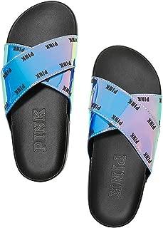 Pink Crisscross Slides Sandals