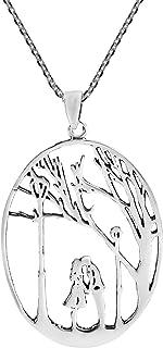 AeraVida True Love's Kiss Beneath a Tree .925 Sterling Silver Pendant Necklace