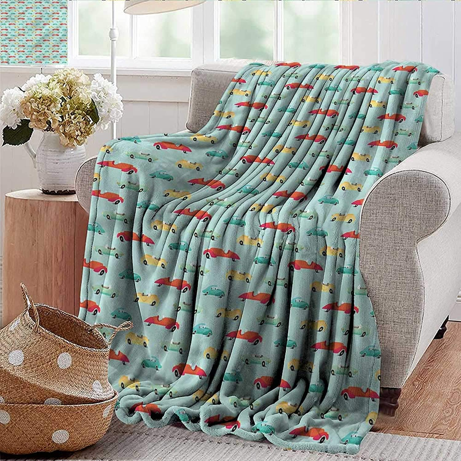 Xaviera Doherty Weighted Blanket for Kids Cars,Various Vintage Wheels Soft Summer Cooling Lightweight Bed Blanket 50 x60