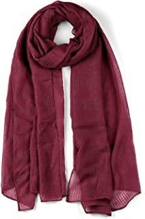 uxcell® Hollow Long Solid Color Wrap Cotton Linen Scarf Shawl For Women