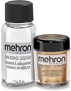 Mehron Makeup Metallic Powder (.17 Ounce) with Mixing Liquid (1 oz) (GOLD)