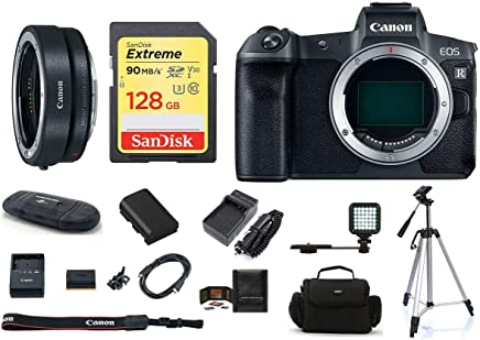 $2129 Get Canon EOS R Mirrorless Digital Camera Body (USA Warranty) PRO Bundle, Includes: 128GB SDXC Extreme Memory Card + Spare Battery + AC/DC Travel Charger + More